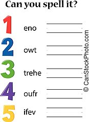 Number mathematics spell worksheet illustration