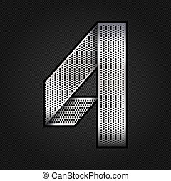 Number metal chrome ribbon - 4 - four