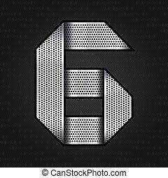 Number metal chrome ribbon - 6 - six