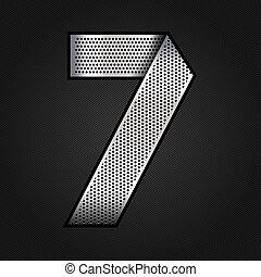 Number metal chrome ribbon - 7 - seven