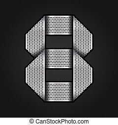 Number metal chrome ribbon - 8 - eight