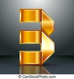 Number metal gold ribbon - 3 - three