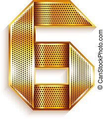 Number metal gold ribbon - 6 - six