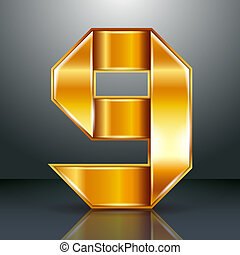 Number metal gold ribbon - 9 - nine
