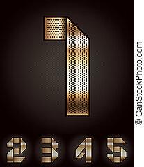 Number metal golden ribbon - 1-5