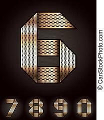 Number metal golden ribbon - 6-0
