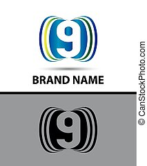 Number nine 9 logo design icon
