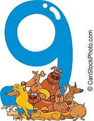 number nine and 9 dogs - cartoon illustration with number...