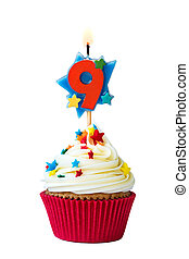 Number nine cupcake - Cupcake with number nine candle