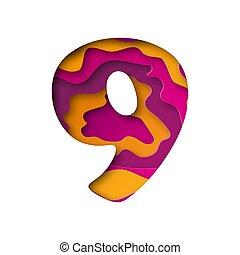 Number Nine, cut out paper. Vector illustration.
