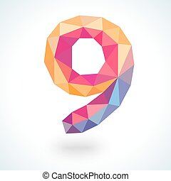 Number nine in modern polygonal crystal style. Vector illustration