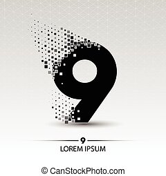 Number nine logo vector design illustration