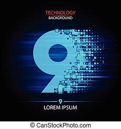 Number nine logo vector technology design