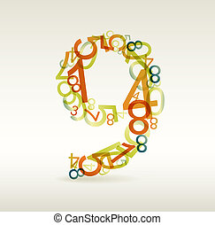 Number nine made from colorful numbers - check my portfolio for other numbers