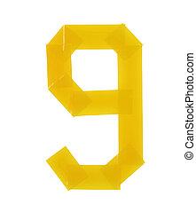 Number nine symbol made of insulating tape