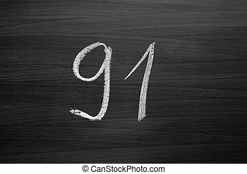 number ninety one enumeration written with a chalk on the blackboard