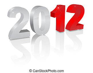 2012 - Number of 2012 on a white background