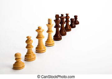 Number of chess pieces on white background