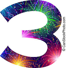 Number of colorful firework, three