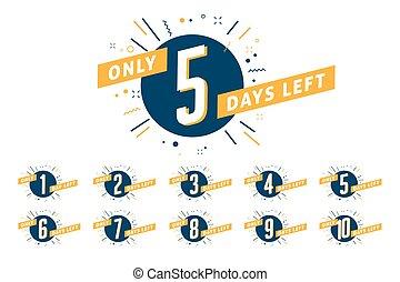 Number of days left sign. Promotional banner.