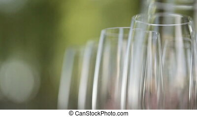 Number of glass stemware - Clean glass glasses each other