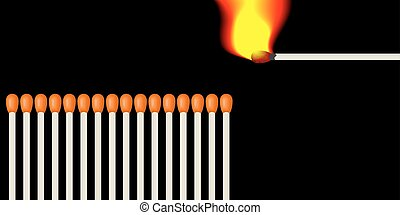 Number of matches - A number of matches and lit one burning...