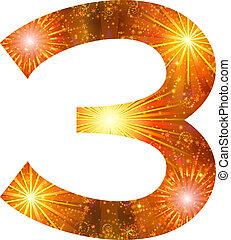 Number of orange firework, three