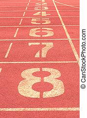 number on running track vintage background