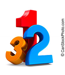number on white background. Isolated 3D illustration