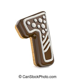 Number ONE 1 chocolate Christmas gingerbread font decorated with white lines and points. 3D