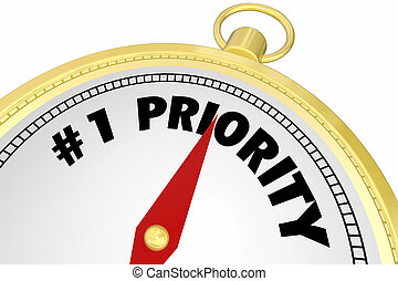 Number One 1 Priority Compass Direction Goal Words 3d Illustraion