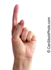 Number One - A hand holding up one finger. Includes clipping...