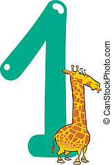 number one and giraffe - cartoon illustration with number...