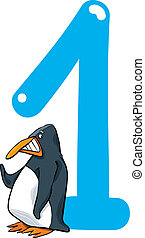 number one and penguin - cartoon illustration with number...