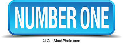 number one blue 3d realistic square isolated button