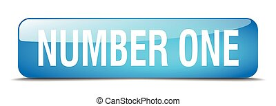 number one blue square 3d realistic isolated web button