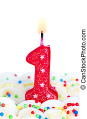 Number one candle - Red number one birthday candle