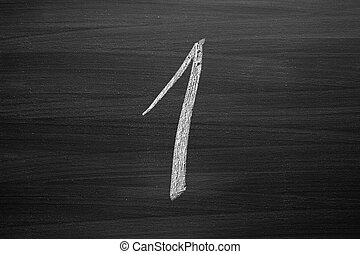 number one enumeration written with a chalk on the blackboard