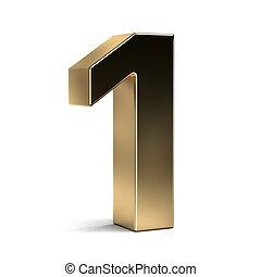 Number One Golden Typeface. 3D Render Illustration