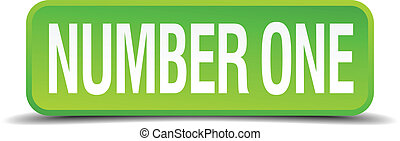 number one green 3d realistic square isolated button