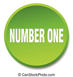 number one green round flat isolated push button