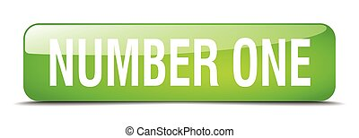 number one green square 3d realistic isolated web button