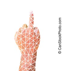 Number One Hand Sign, Body Language, Low Poly Vector Illustration
