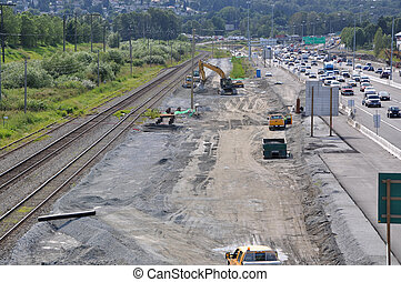 Number one highway traffic flow and construction site
