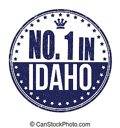 Number one in Idaho grunge rubber stamp on white background, vector illustration