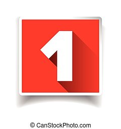 Number one label or number icon