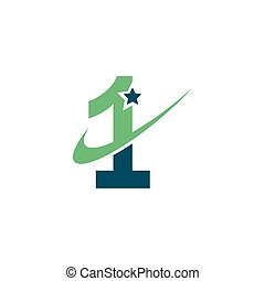number one logo vector icon design