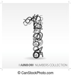 Number one made from various numbers