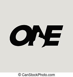 Number One negative space Symbol concept