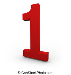 Number One on White Background - A red number one with...